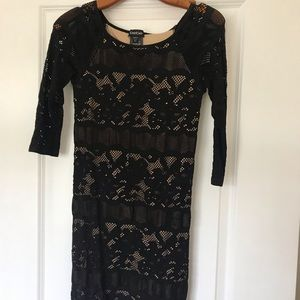 Black Nude and Lace Bebe Stretch Dress